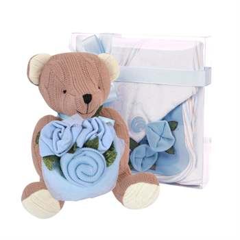 Teddy with Roses Blue