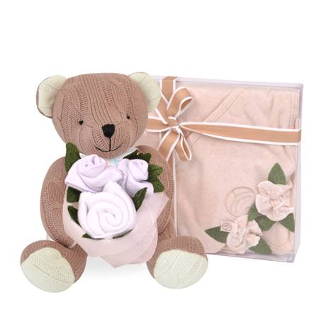 Teddy with Roses White
